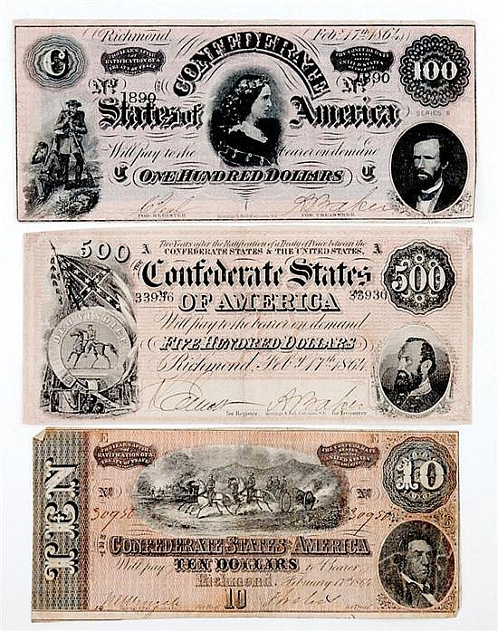 Confederate States of America currency (3pcs)