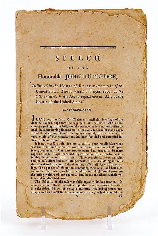 Early pamphlet: John Rutledge Jr.'s copy of his speech