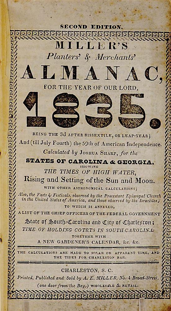 Southern pamphlet: Rutledge Family almanac