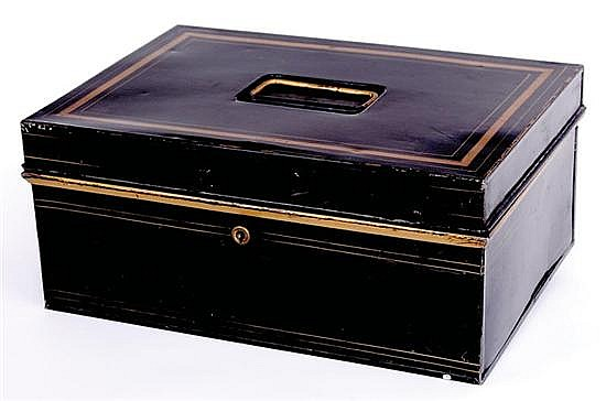Black toleware document box of Southern interest