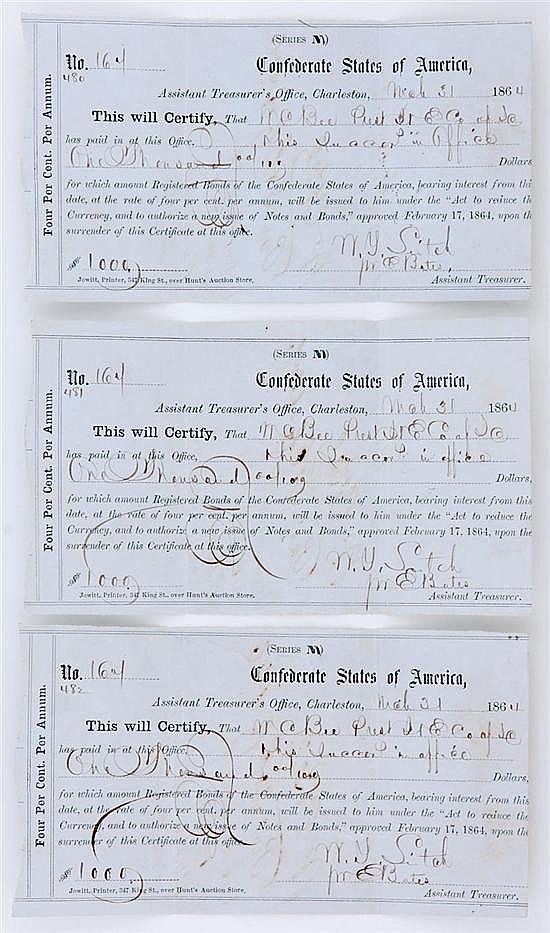 Confederate States of America receipts for Confederate bonds (3pcs)
