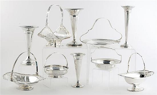 American sterling baskets and vases (10pcs)