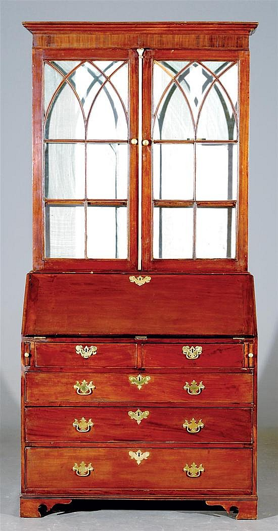 American Chippendale style mahogany bureau bookcase