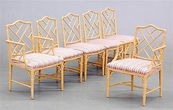 Six faux-bamboo chairs