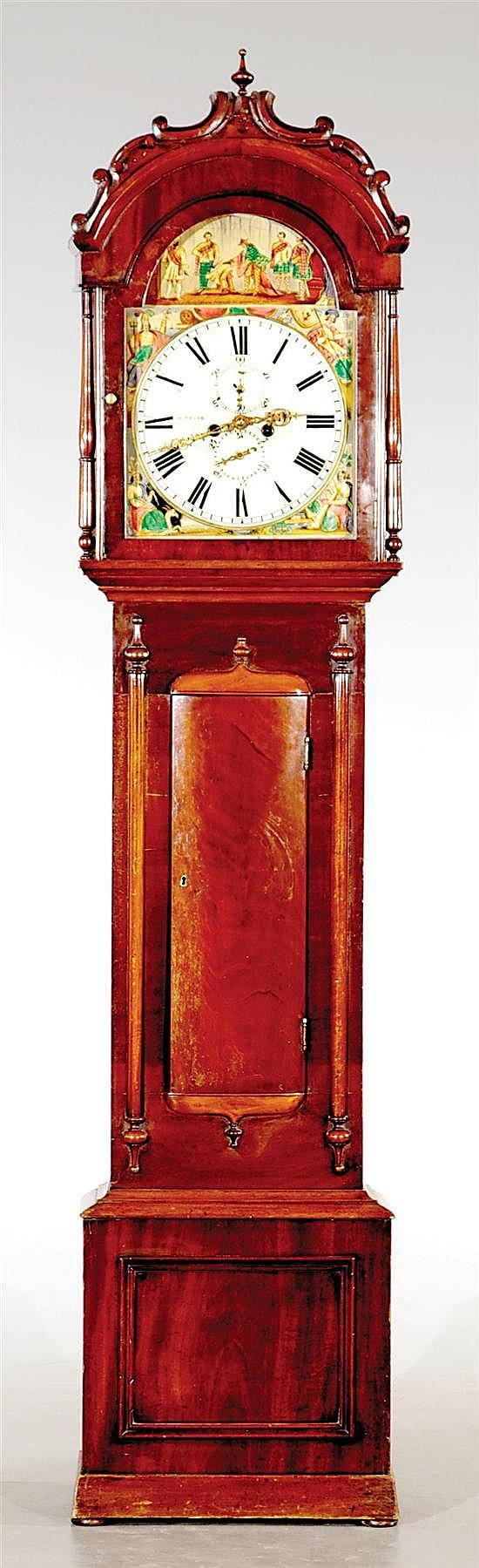 English Regency mahogany tall clock