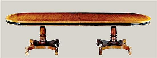 Classical style inlaid walnut banquet table