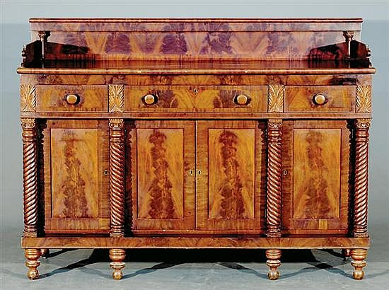 American Classical carved mahogany buffet