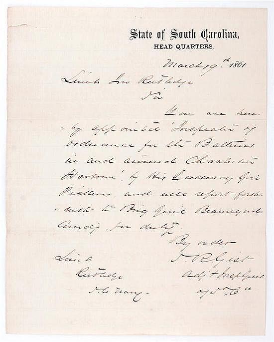 Document: Lt. John Rutledge letter of appointment