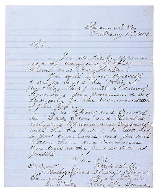 Document: Lt. John Rutledge Naval order