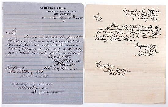Documents: Lt. John Rutledge Naval orders (2pcs)