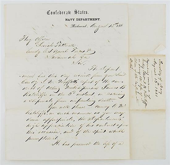 Document: Stephen R. Mallory autographed letter signed