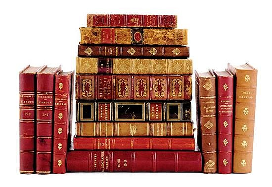 Books: Fine French and English leather-bound editions (15pcs)