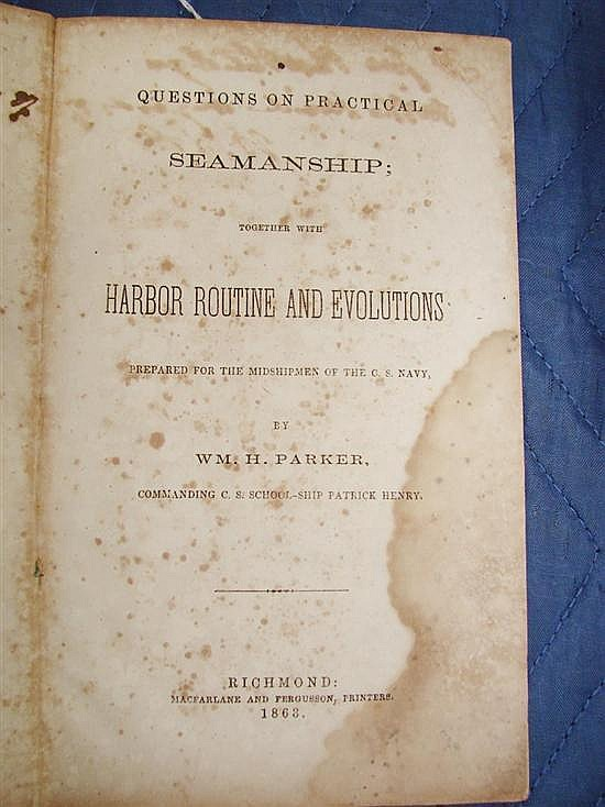 Book: Rare Confederate Navy volume signed by Lt. J. Rutledge