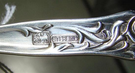 Whiting Heraldic pattern sterling serving pieces (2pcs)