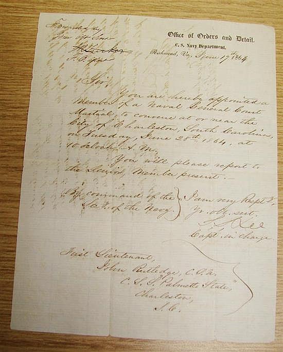 Documents: Lt. John Rutledge Naval orders (3pcs)