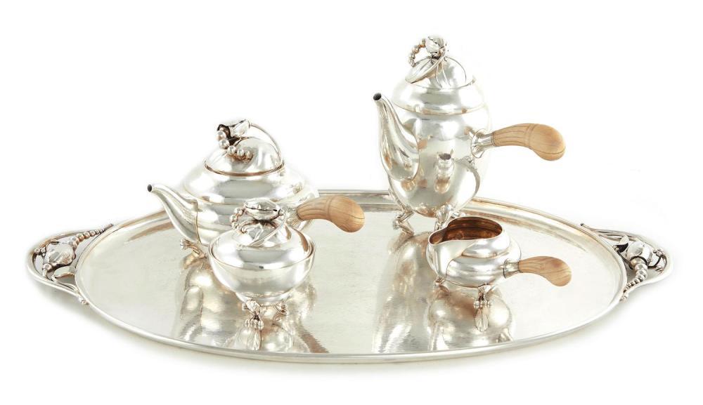 Danish silver tea and coffee service, Georg Jensen (5pcs)