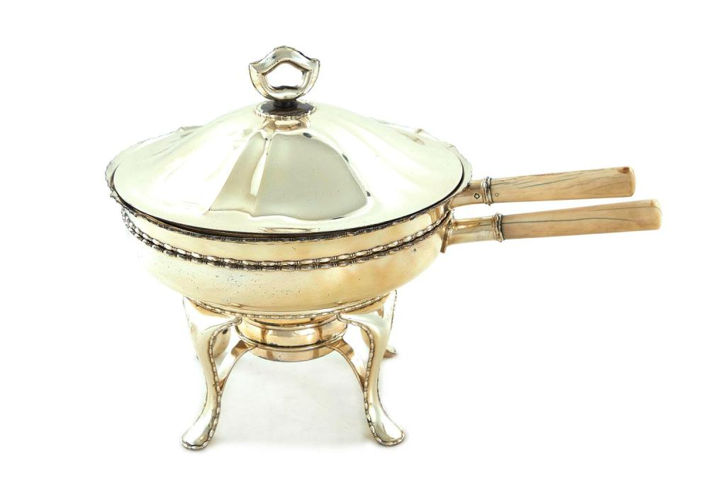 Tiffany & Co silver chafing dish on lampstand