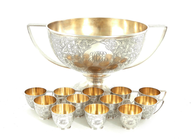 American silver punch set, Davis & Galt (13pcs)