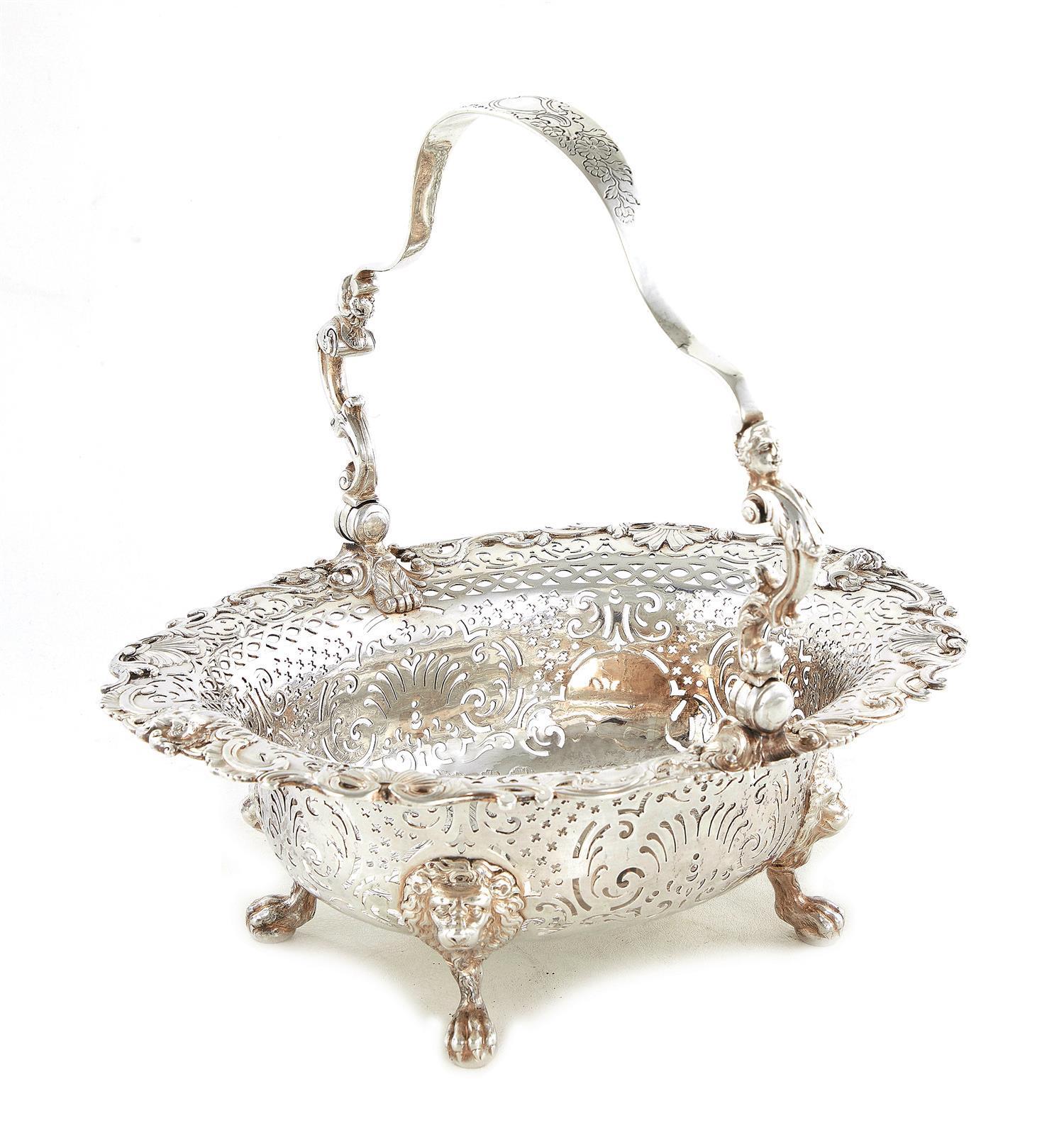George II silver swing handle basket, Thomas Heming