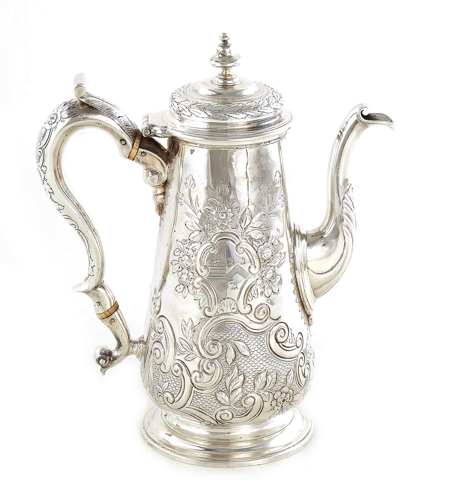 Fine George II silver coffeepot, William Kidney