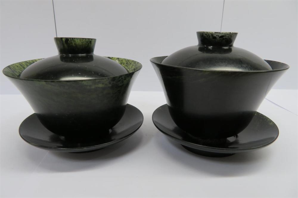 Pair Chinese translucent jade cups with covers and saucers (6pcs)