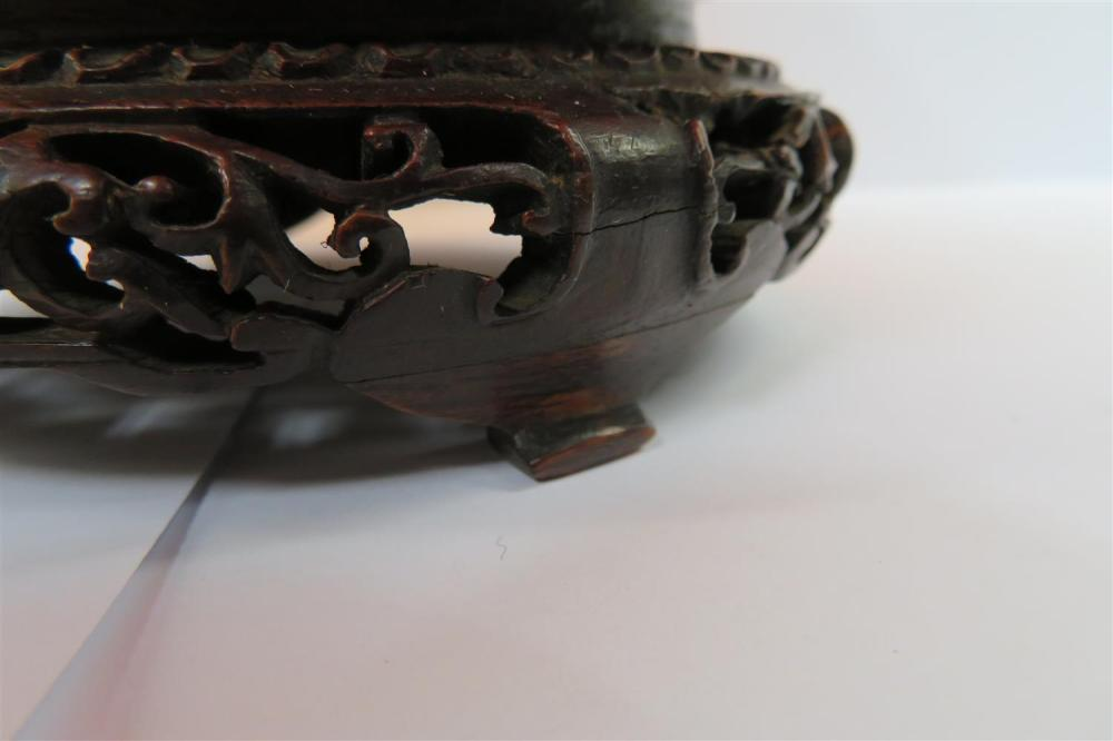 Chinese carved agate bowl on stand