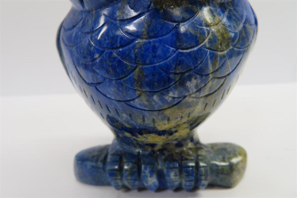 Chinese carved lapis lazuli owl and polished orb (2pcs)