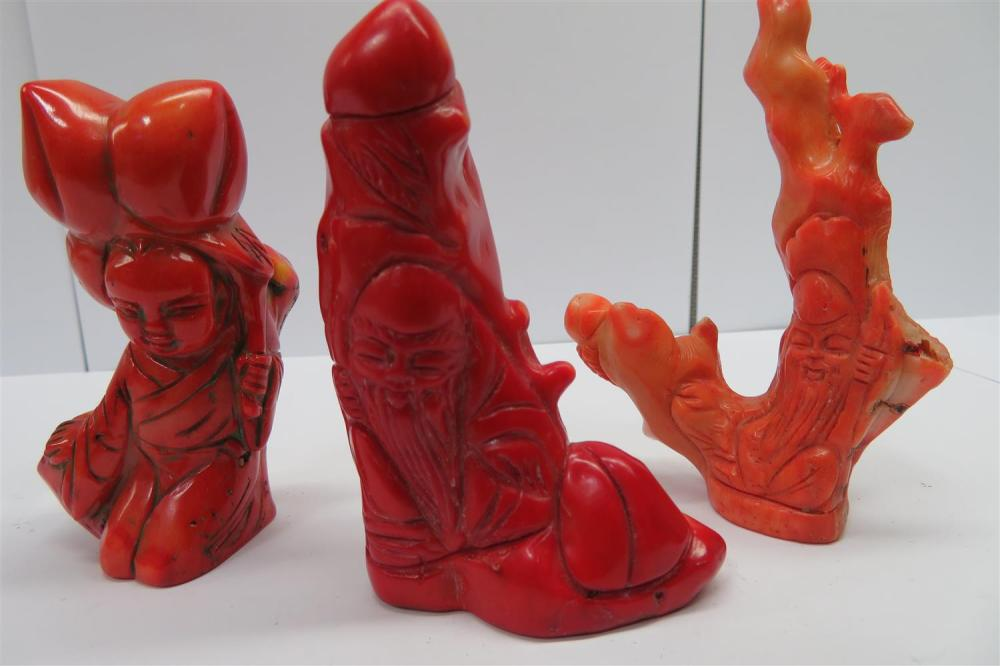 Chinese figural carved coral branches (3pcs)