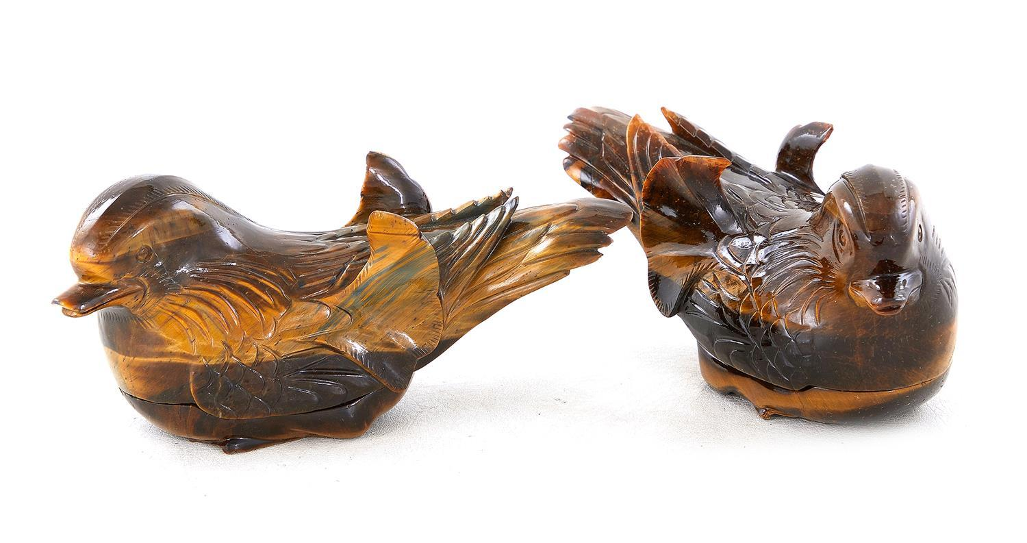 Pair Chinese carved tiger-eye Mandarin duck-form boxes (2pcs)
