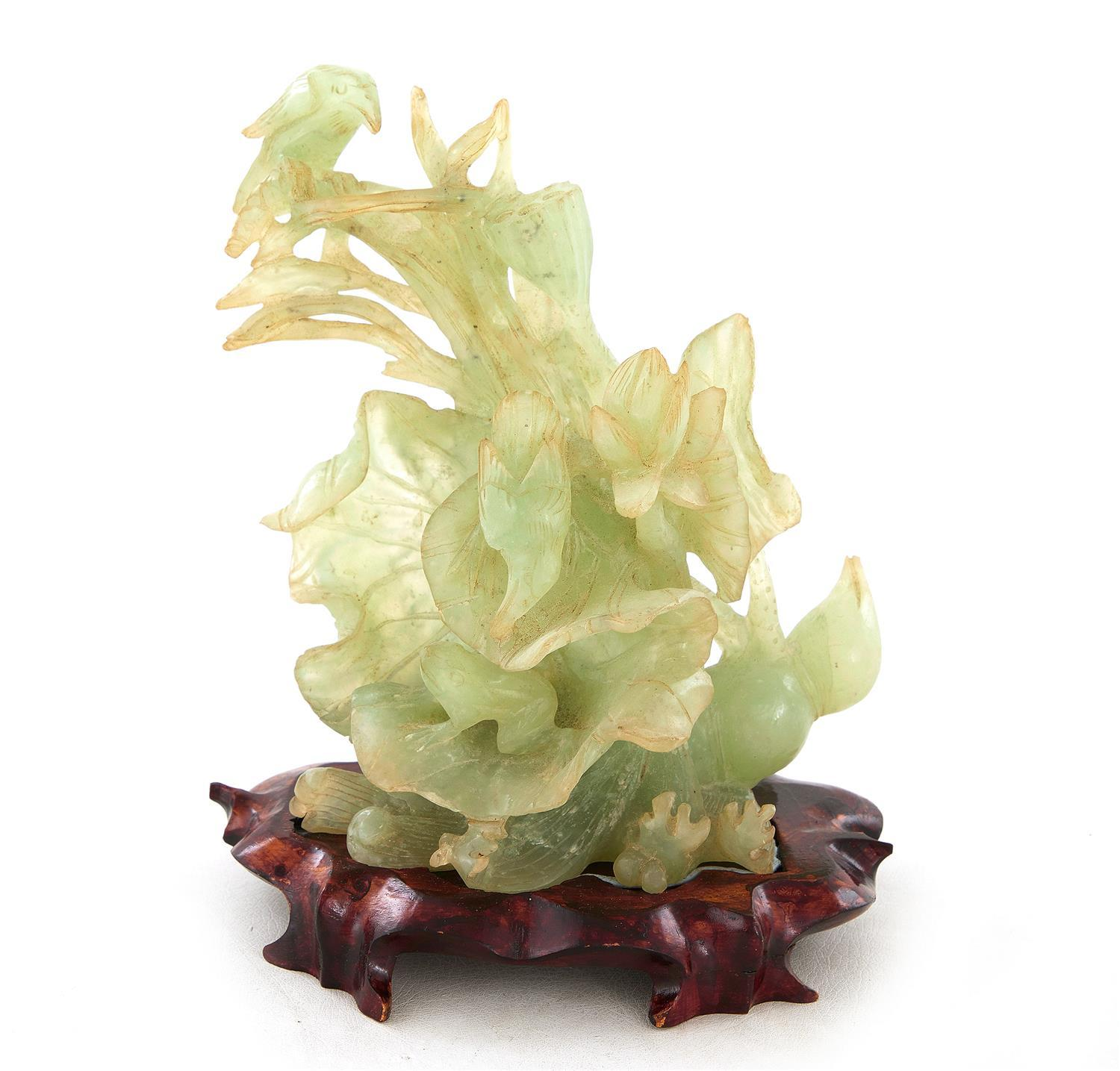 Chinese carved jade lotus blossom