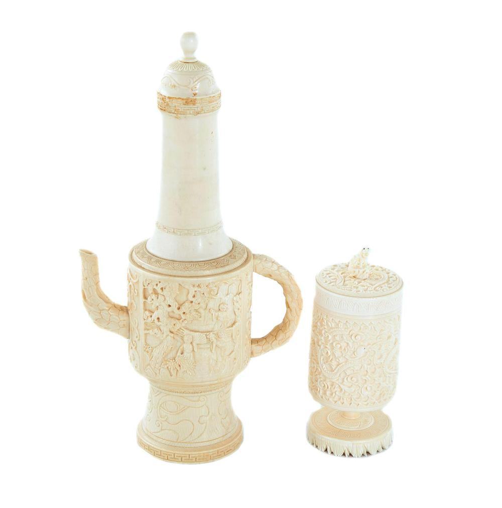 Chinese carved ivory coffeepot and box (2pcs)
