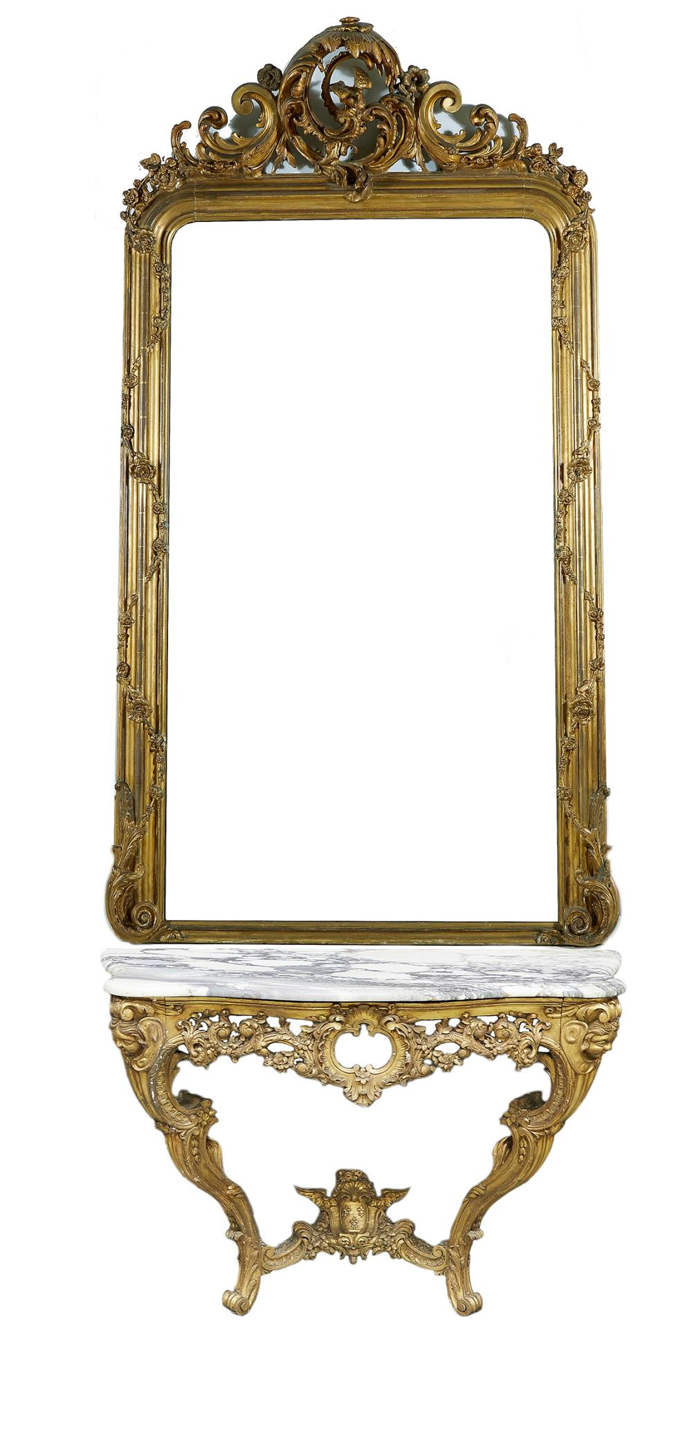 Louis XV style pier mirror and marbletop console table (2pcs)