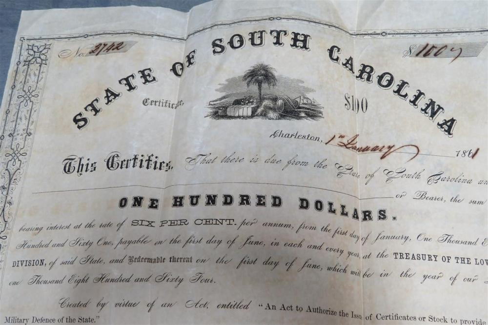 South Carolina and Confederate stocks and bonds (14pcs)