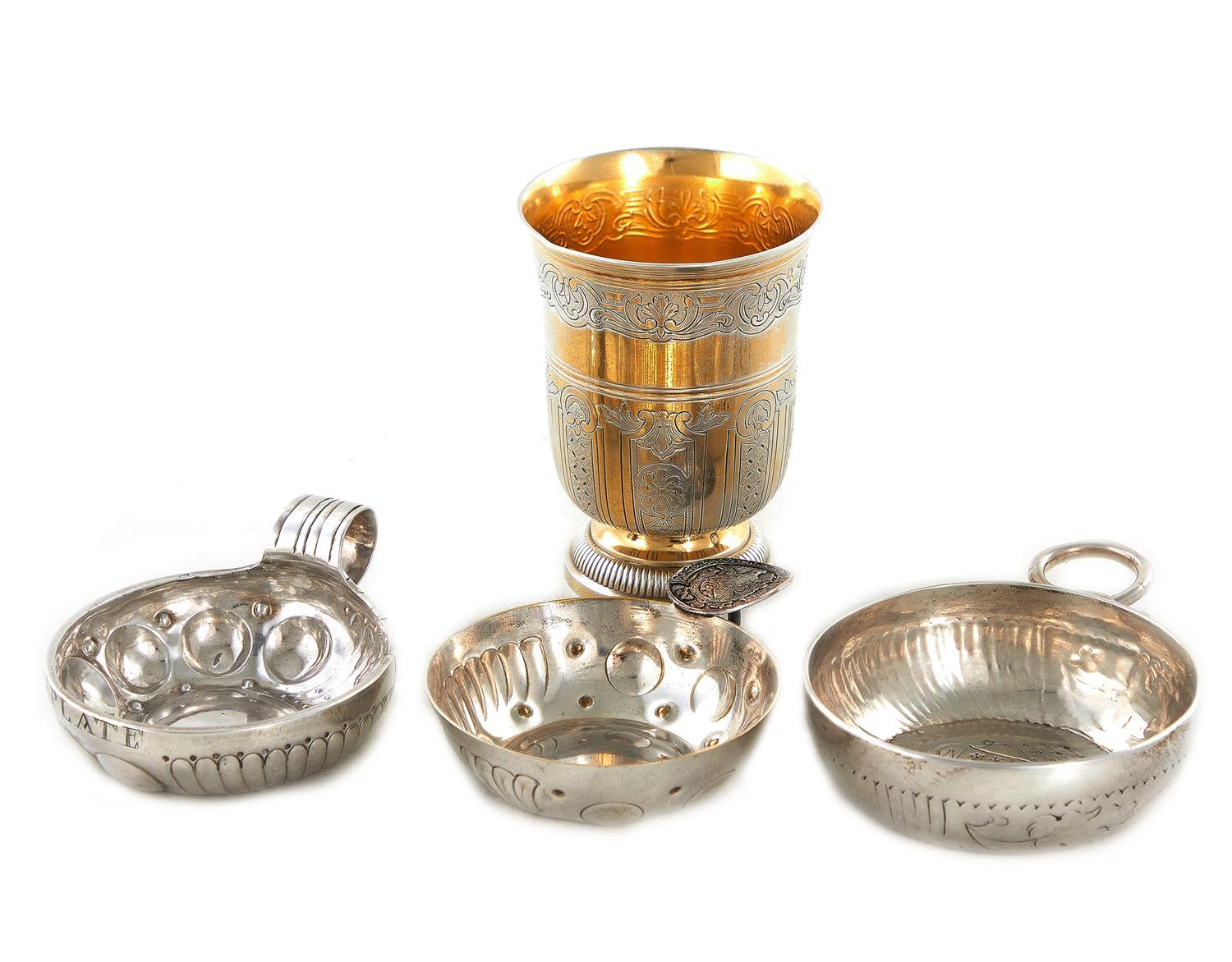 French silver beaker and wine tasters (4pcs)