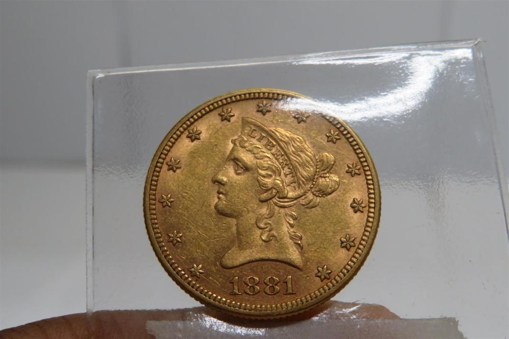 United States 1881 Liberty head $10 gold coin