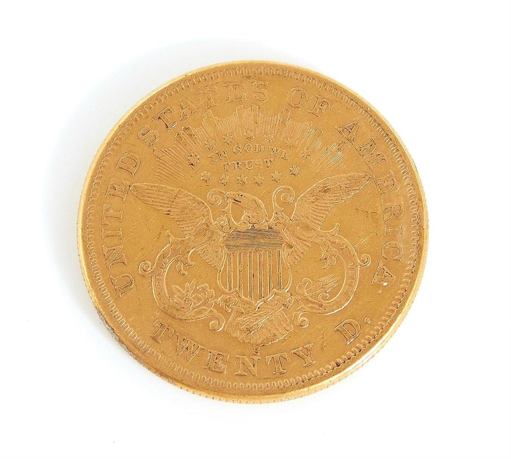 United States 1874 Liberty head $20 gold coin