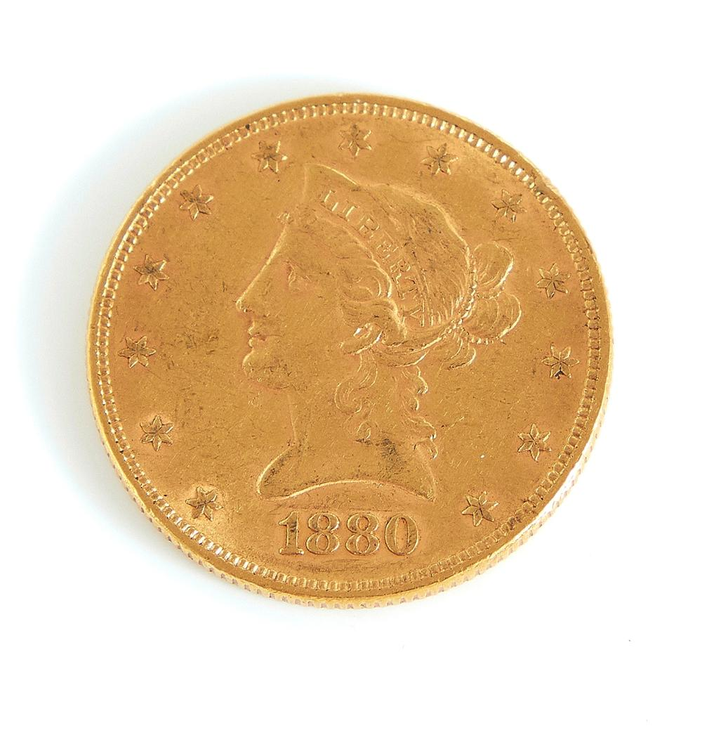 United States 1880 Liberty head $10 gold coin