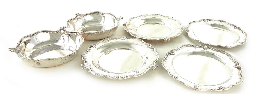 Fine pair German silver serving bowls and dishes, Sy & Wagner (6pcs)