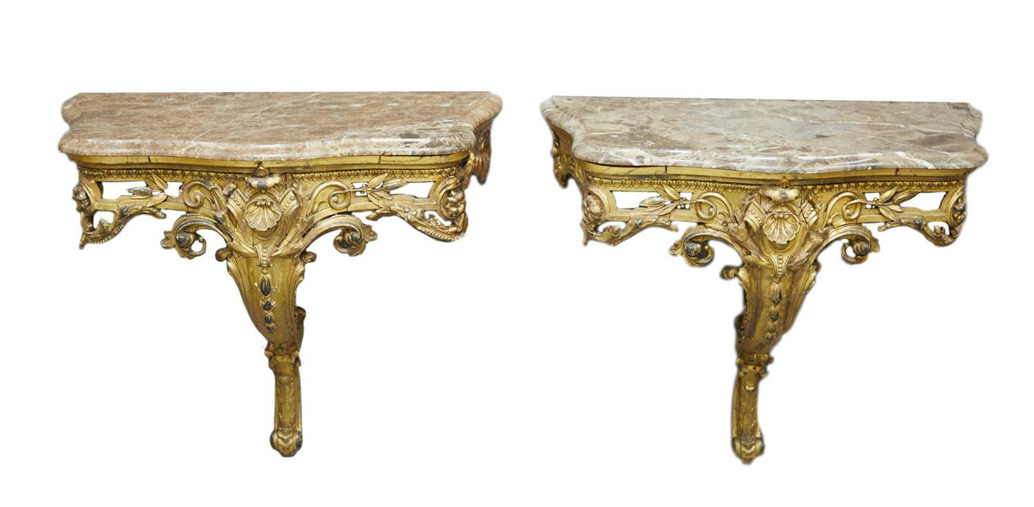 Pair Louis XV style carved giltwood marbletop wall consoles (2pcs)