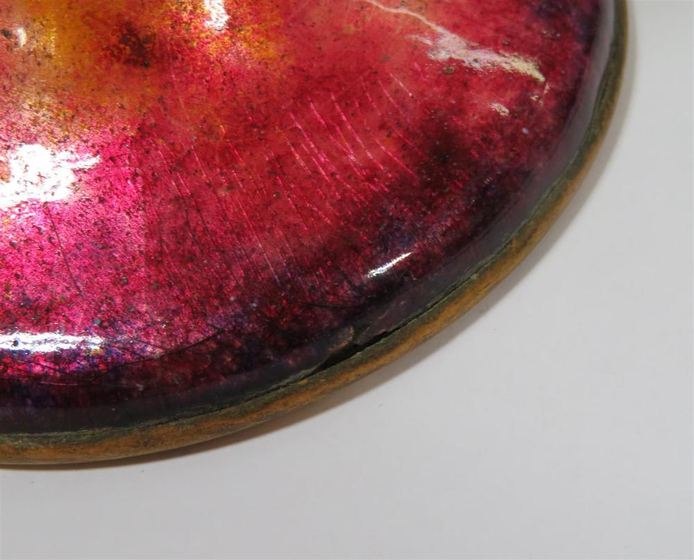 Tiffany Furnaces favrile glass vases on enameled bases (2pcs)