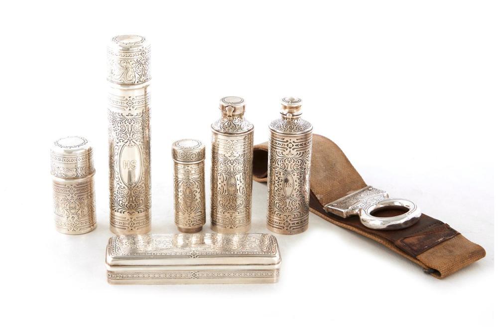 Tiffany & Co silver gentlemen's shaving set (7pcs)