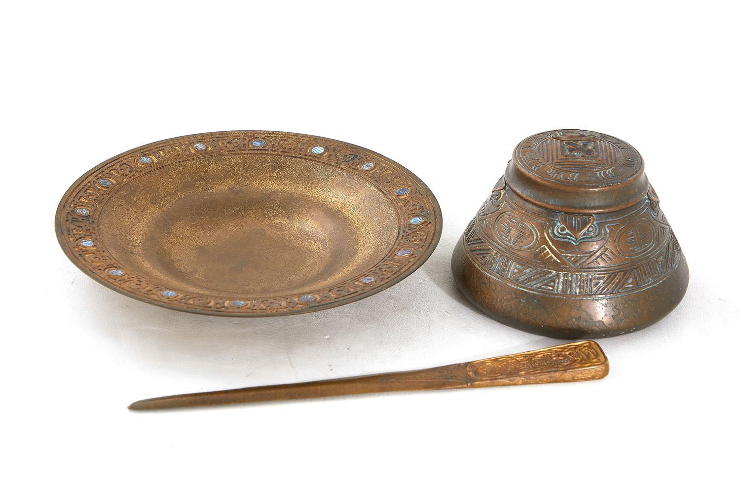 Tiffany Studios inkwell, letter opener and dish (3pcs)