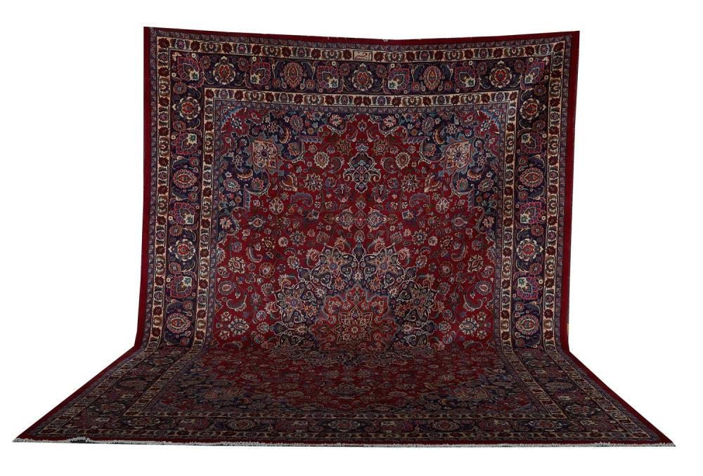 Persian Mashad carpet, signed