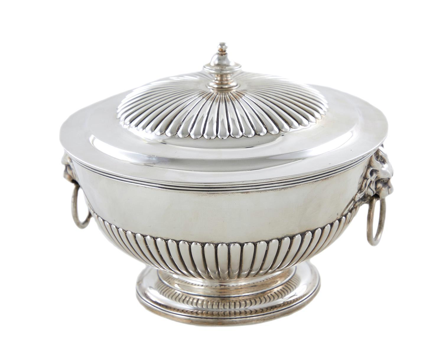 George IV silver bowl on pedestal with cover