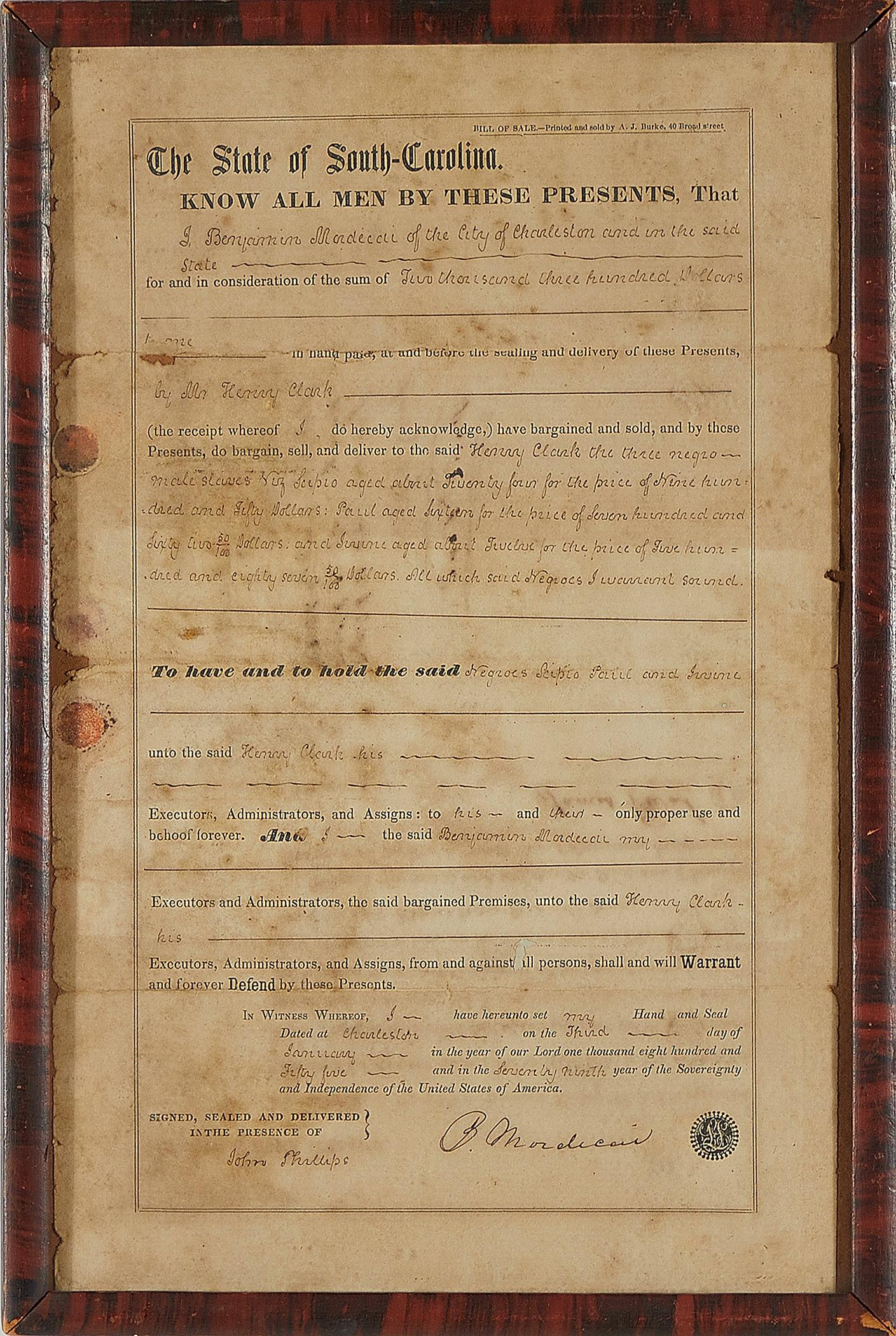 Charleston Slave Bill of Sale, Benjamin Mordecai to Henry Clark