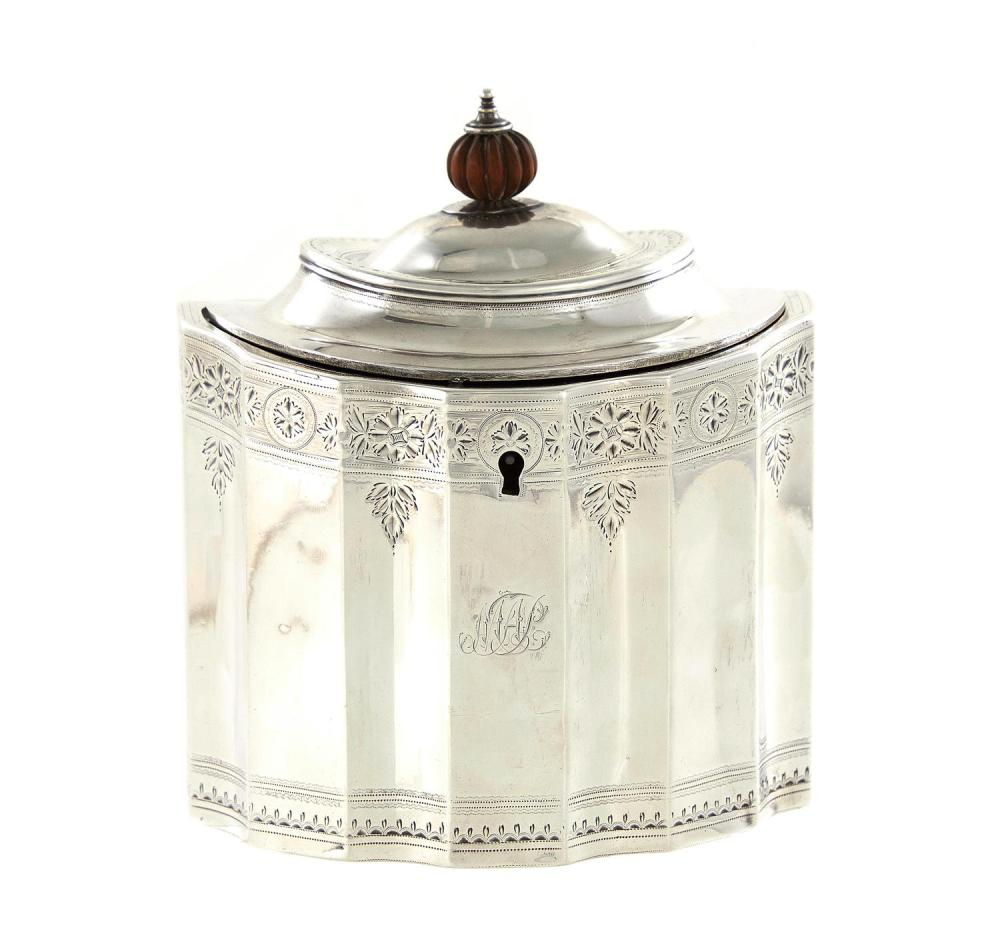 George III silver tea caddy, Robert Hennell