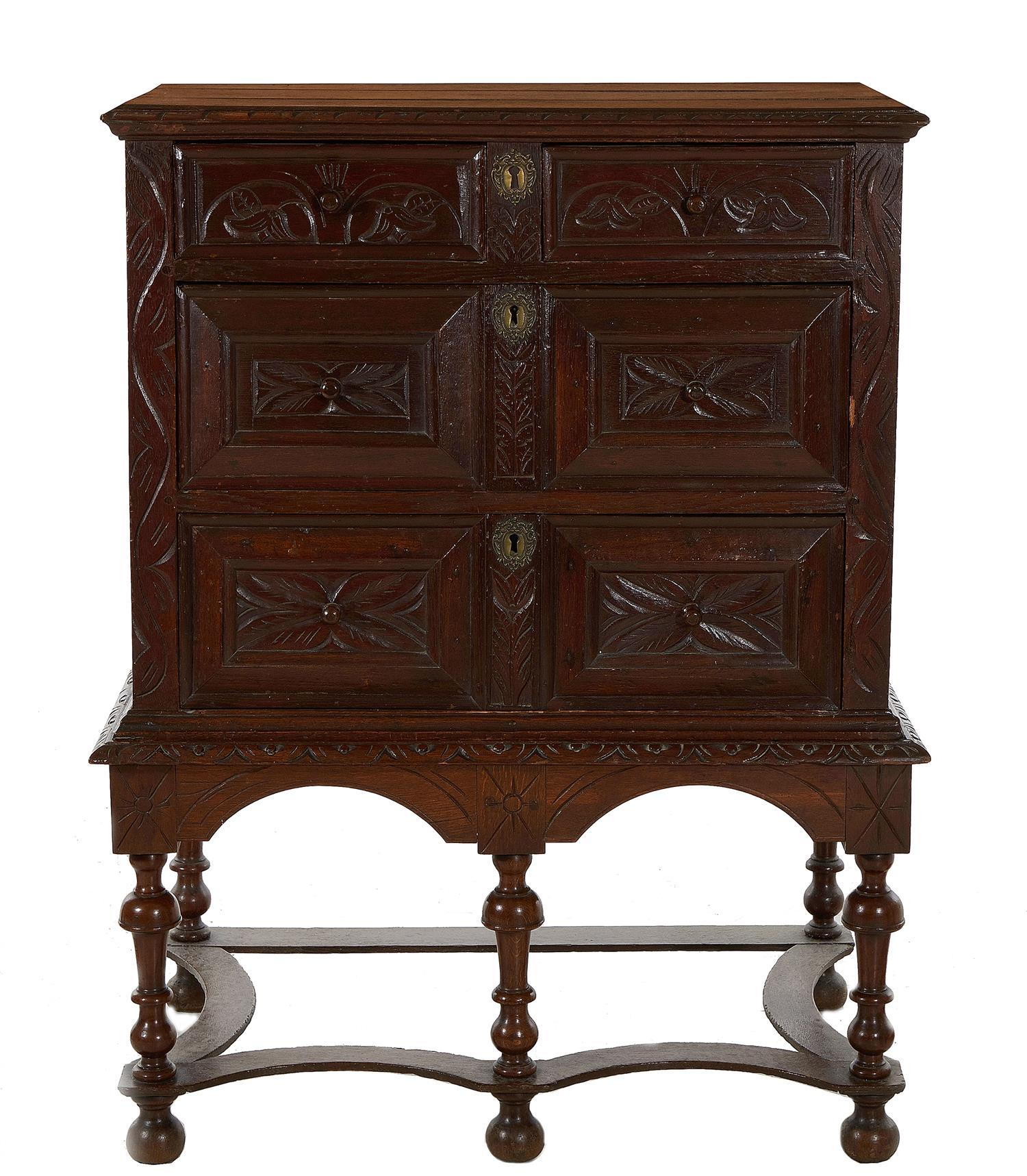 Jacobean pine chest on stand