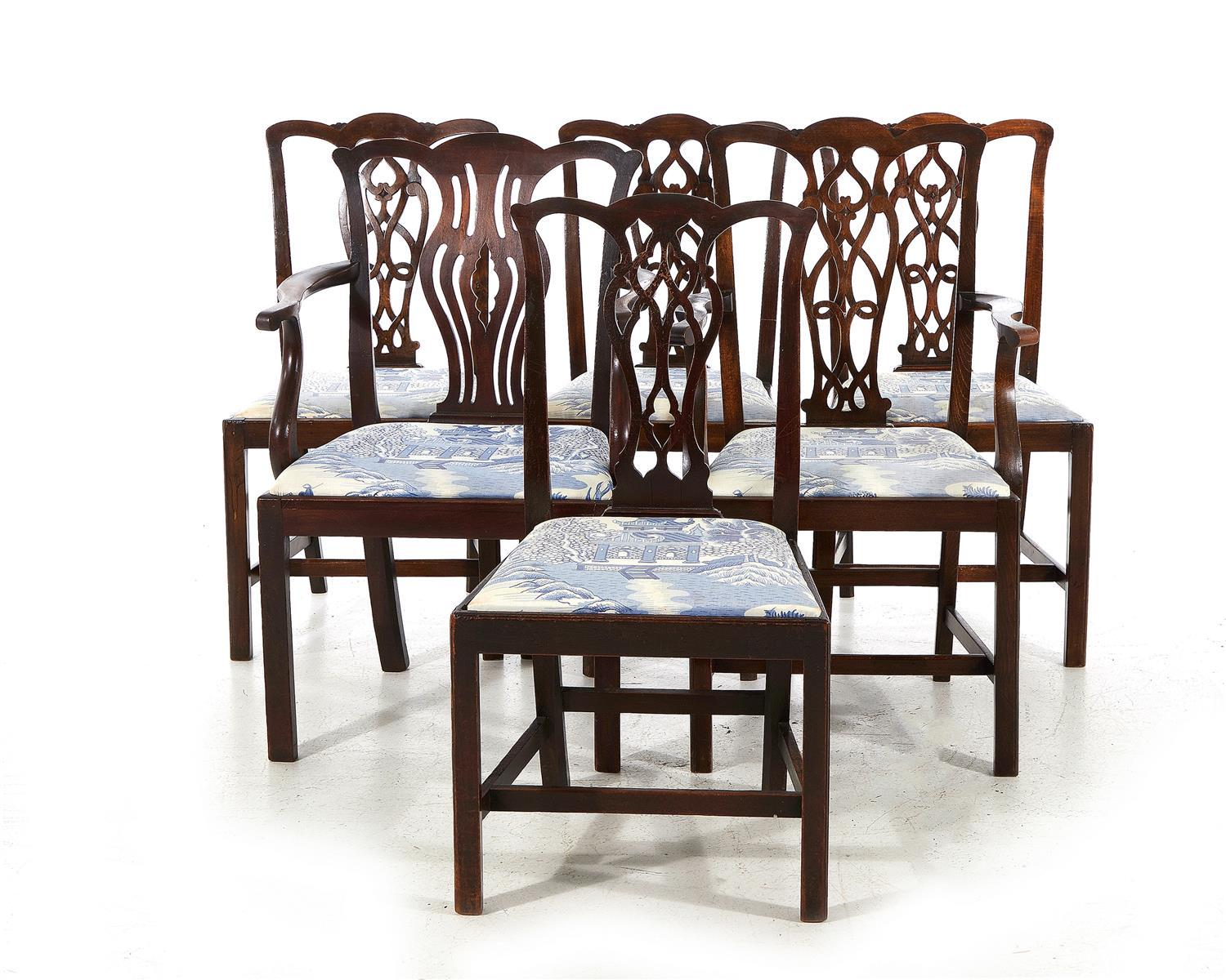 Chinese Chippendale style dining chairs (6pcs)