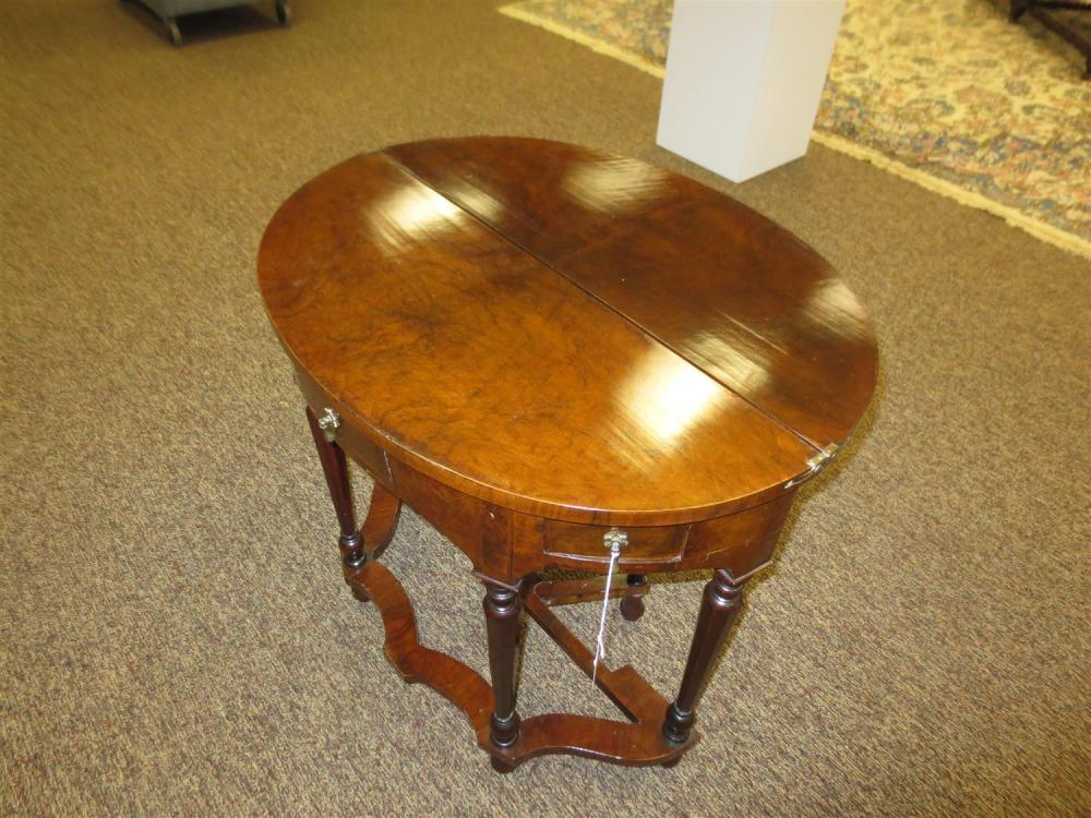 William & Mary style walnut D-shaped card table