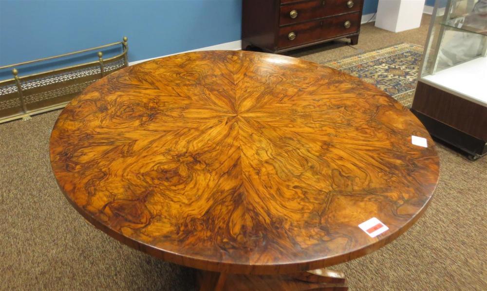 Biedermeier burl walnut tilt-top center table